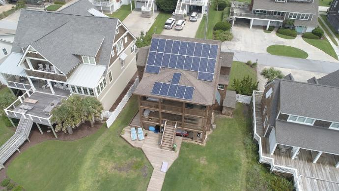 solar panels on beach house in eastern north carolina